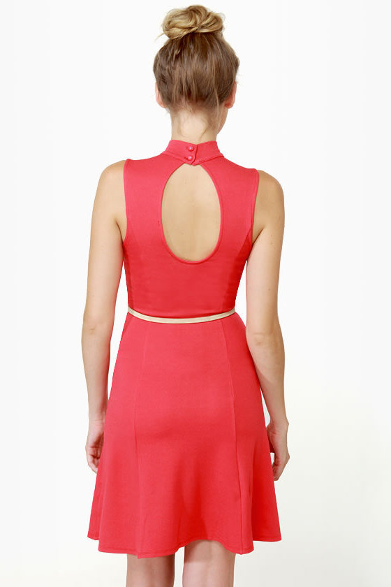 Triple Scoop Sleeveless Red Dress