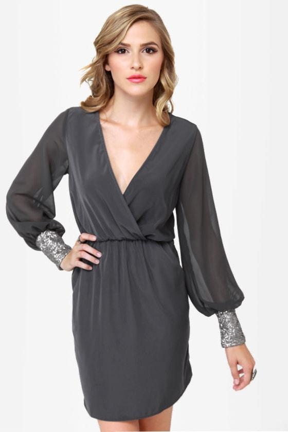 Cuff'n Up Grey Sequin Dress
