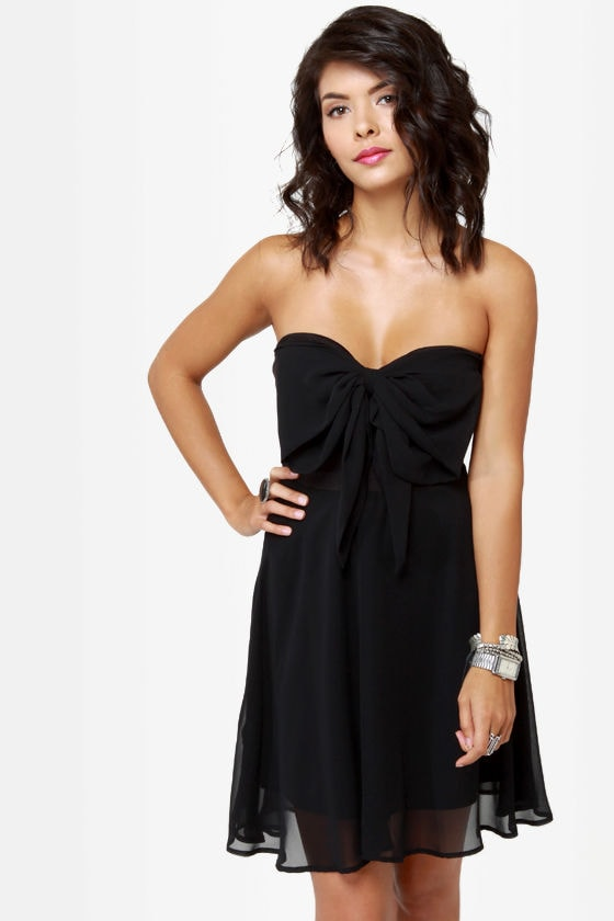 Little Black Dress - Strapless Dress - Fit and Flare Dress - $40.00