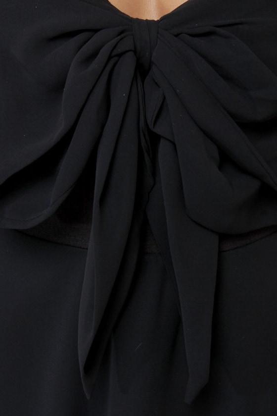Madame Bow-vary Strapless Black Dress