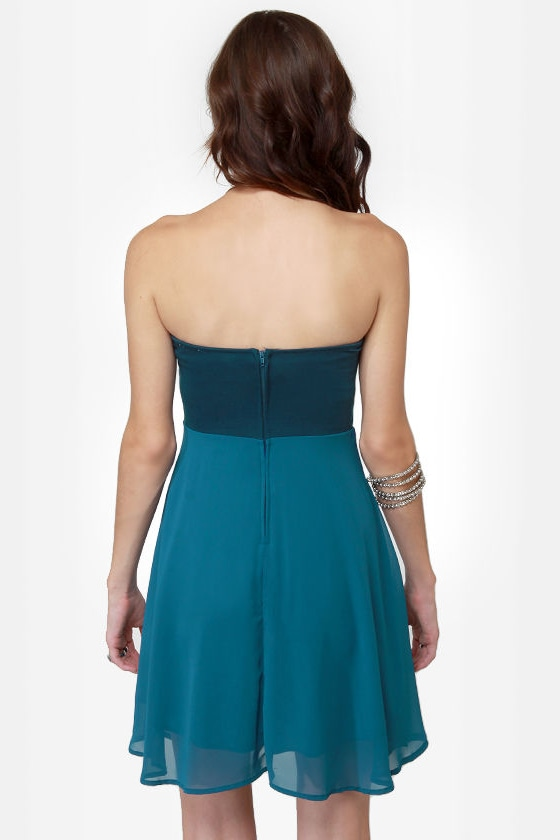 Madame Bow-vary Strapless Blue Dress