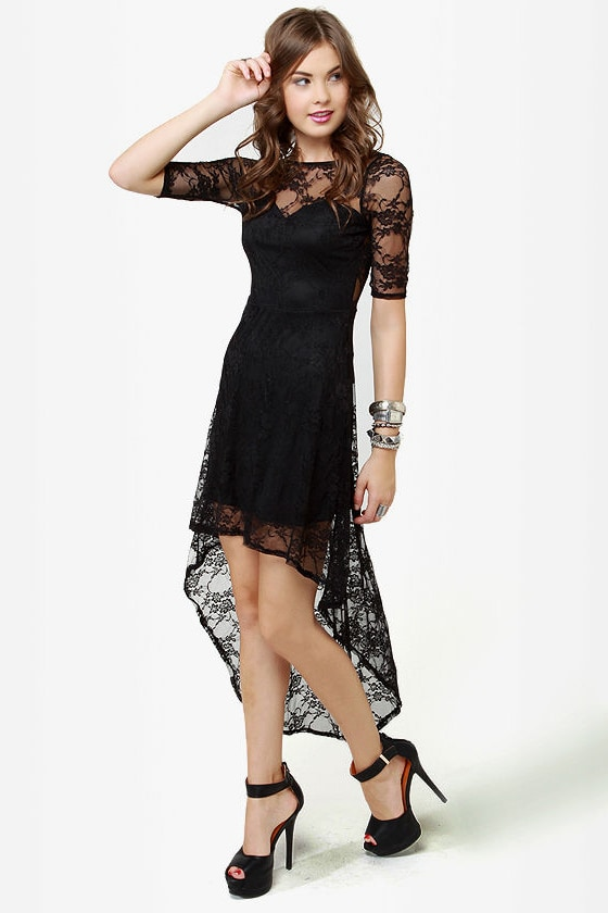 Cute Lace Dress - Black Dress - High-Low Dress - $40.00