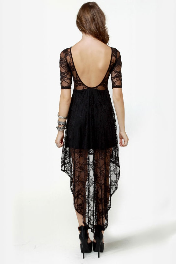 Wish You Were Sheer Black High-Low Lace Dress