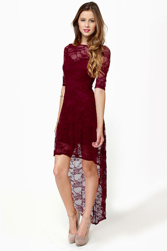 3de9a354321 Cute Lace Dress - Burgundy Dress - High-Low Dress -  40.00