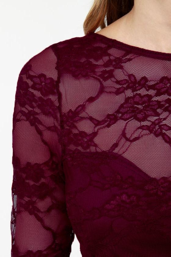 Wish You Were Sheer Burgundy High-Low Lace Dress