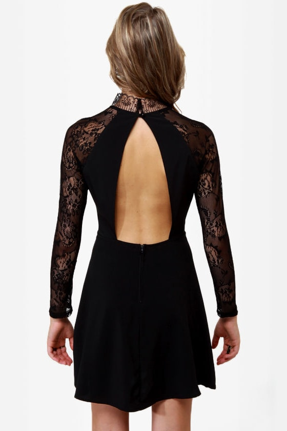 Strike of Midnight Black Lace Dress at Lulus.com!