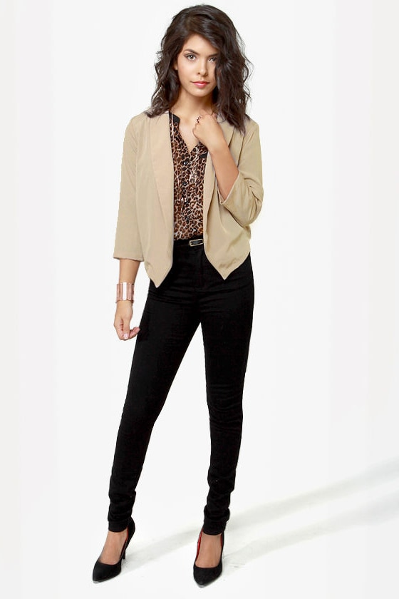 Opening Lines Backless Light Taupe Blazer