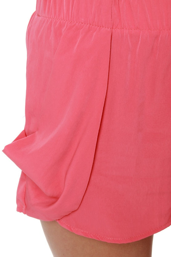 Five Alarm Coral Pink Shorts at Lulus.com!
