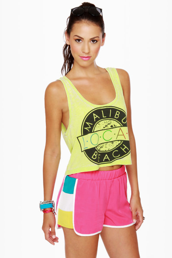 Windsurfer Girl Color Block Fuchsia Shorts at Lulus.com!