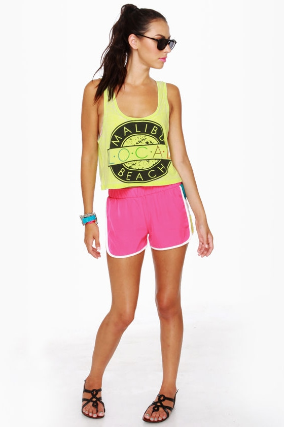 Windsurfer Girl Color Block Fuchsia Shorts