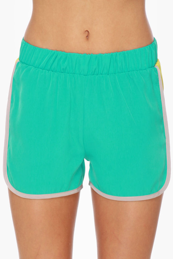 Windsurfer Girl Color Block Teal Shorts