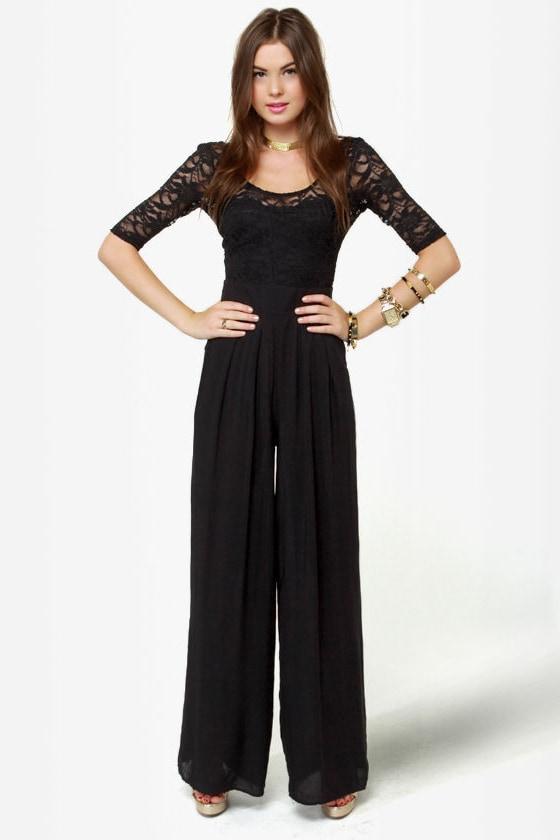 Jump Up Lace Black Jumpsuit