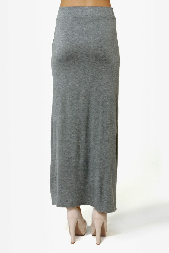 Makin\\\' Moves Heather Grey Maxi Skirt