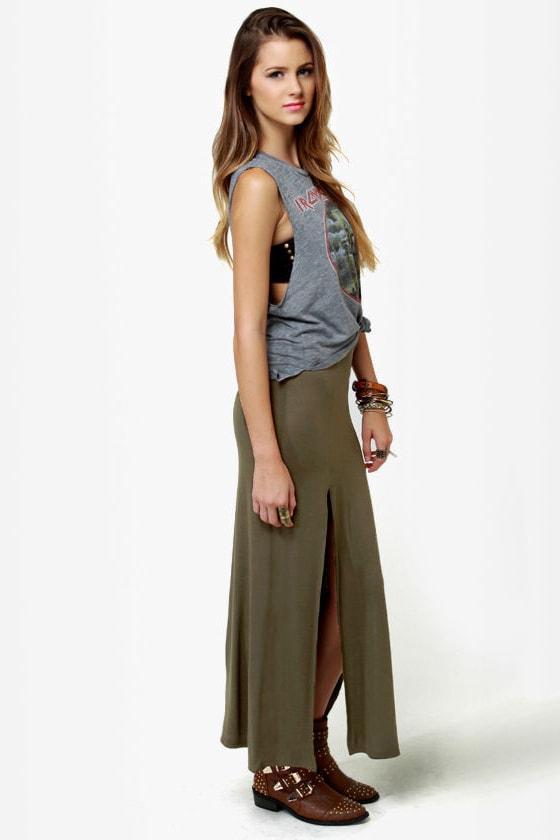 Makin' Moves Olive Green Maxi Skirt