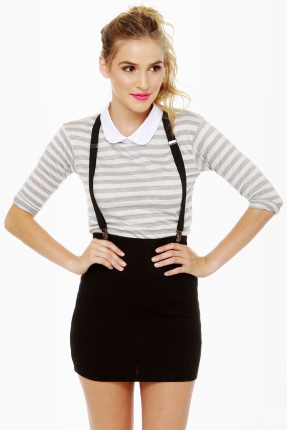 87c618b79b Hip Suspender Skirt - Black Skirt - Mini Skirt - $31.00