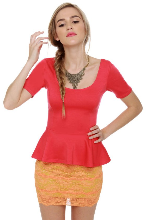 Aim to Please Short Sleeve Coral Top at Lulus.com!