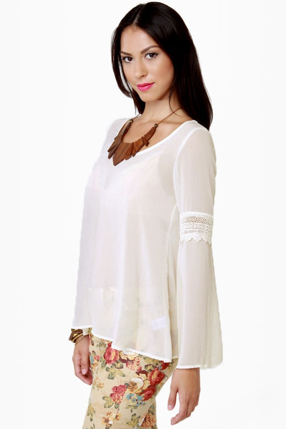 First Folio Sheer Ivory Top at Lulus.com!