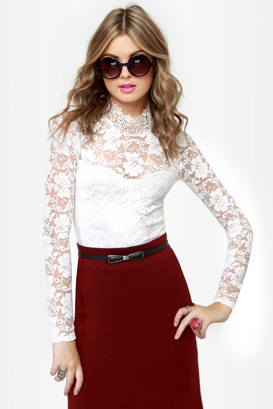 Sexy Ivory Top - Lace Top - Long Sleeve Top - $37.50