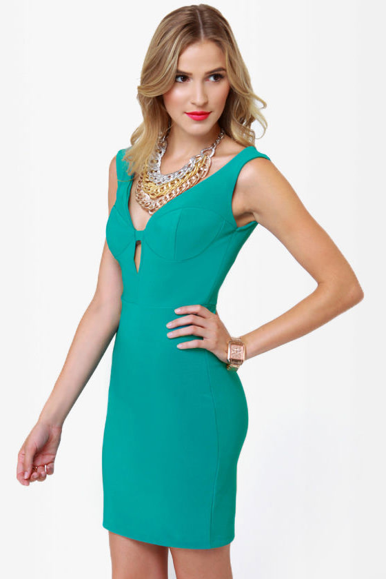 Number One Stunner Cutout Teal Dress