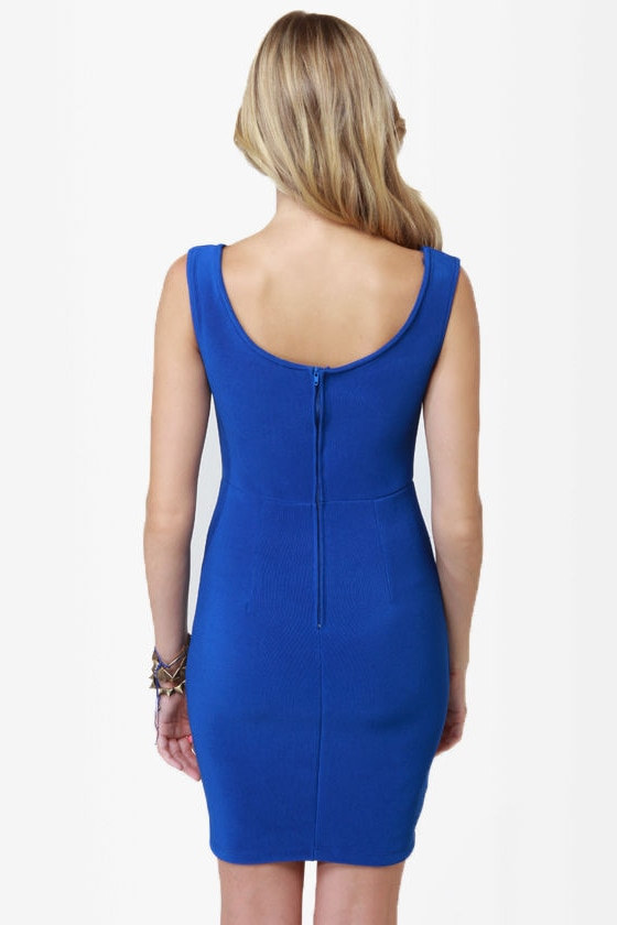 Number One Stunner Cutout Royal Blue Dress