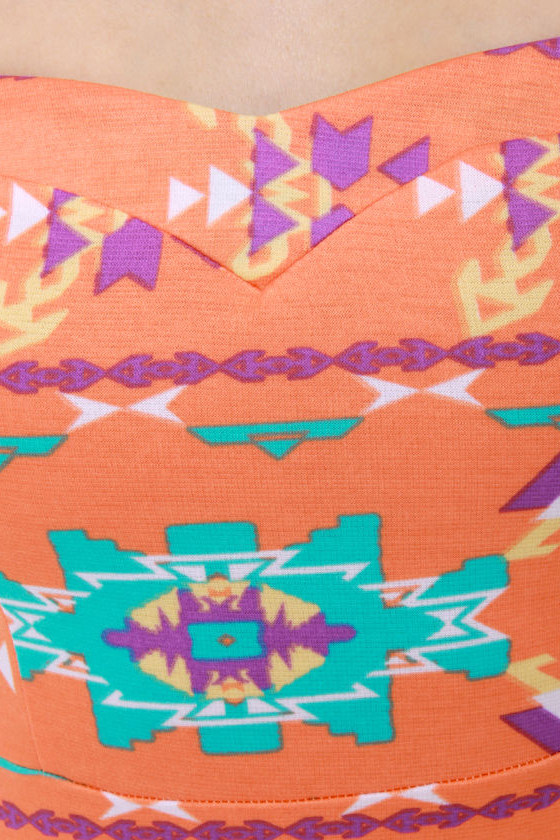 Sizzling Southwest Orange Print Dress
