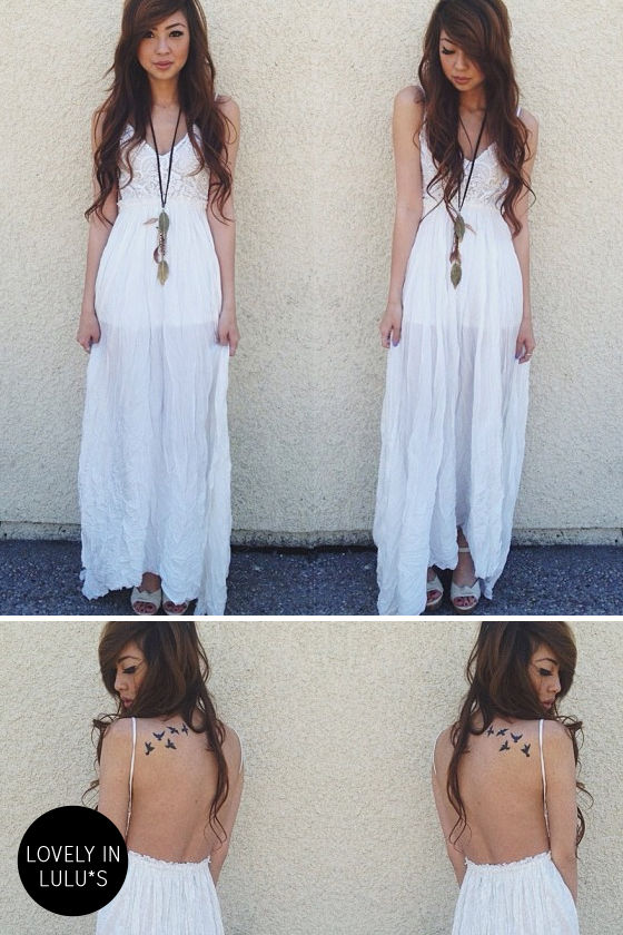 Snowy Meadow Crocheted Ivory Maxi Dress at Lulus.com!