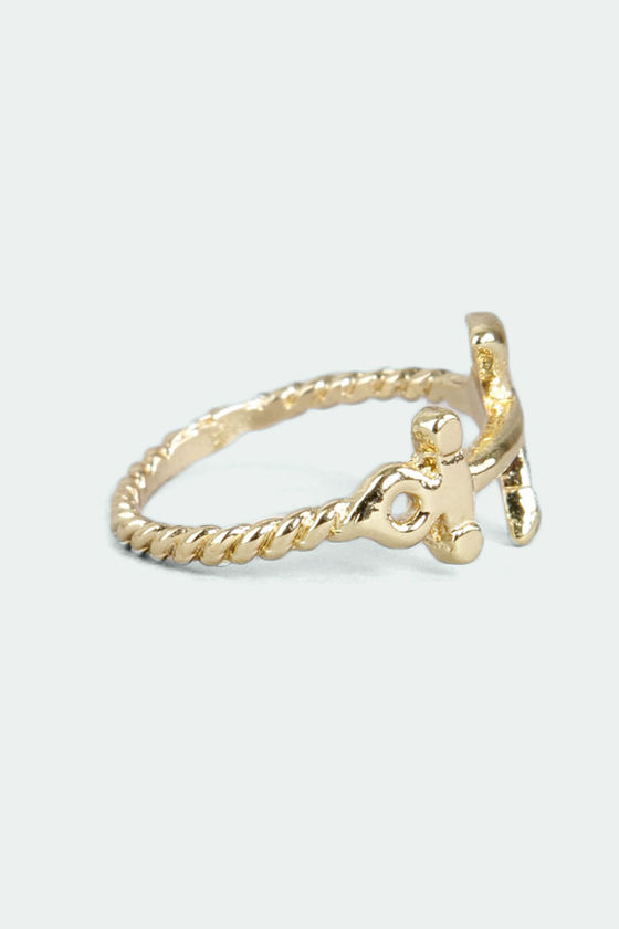 Gotta Anchorin' Gold Knuckle Ring at Lulus.com!