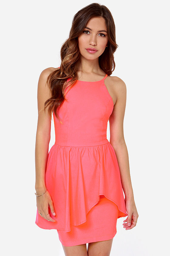 Pretty Coral Dress - Neon Dress - Cocktail Dress - $39.00