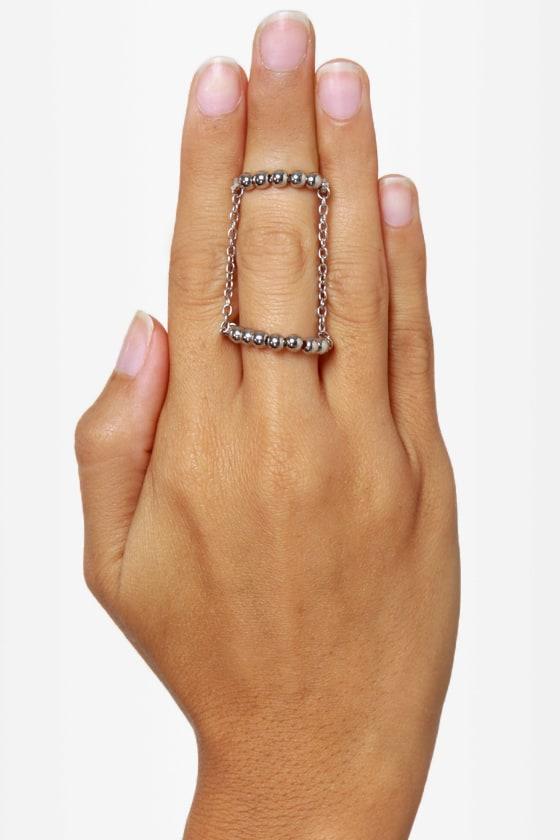 Twofer Silver Knuckle Ring