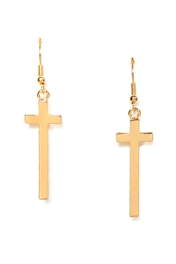 Livin' On a Prayer Gold Cross Earrings