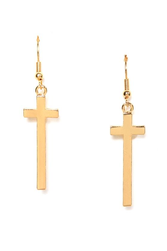 Livin' On a Prayer Gold Cross Earrings