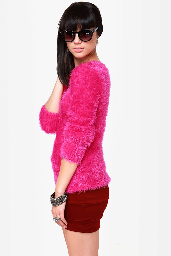 adorable hot pink sweater  fuzzy sweater  4100