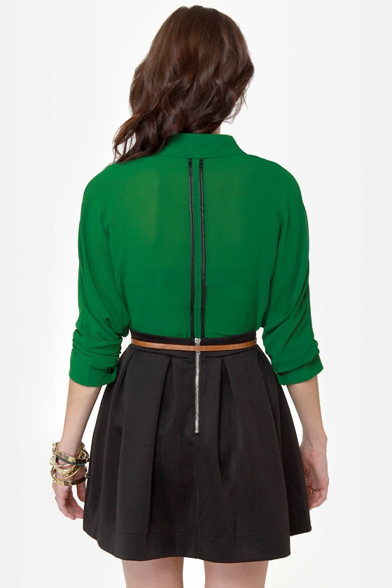 Seeing Double Sheer Green Button-Up Top