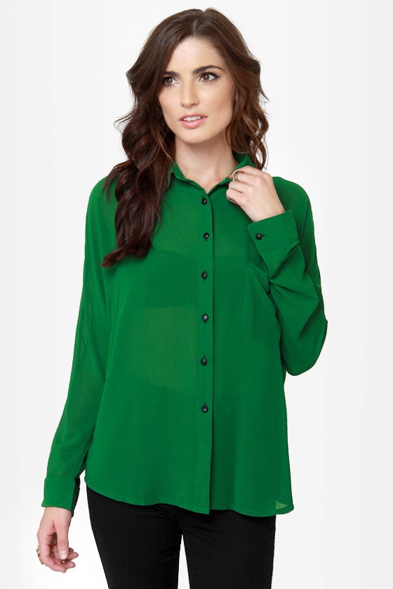 Seeing Double Sheer Green Button-Up Top at Lulus.com!