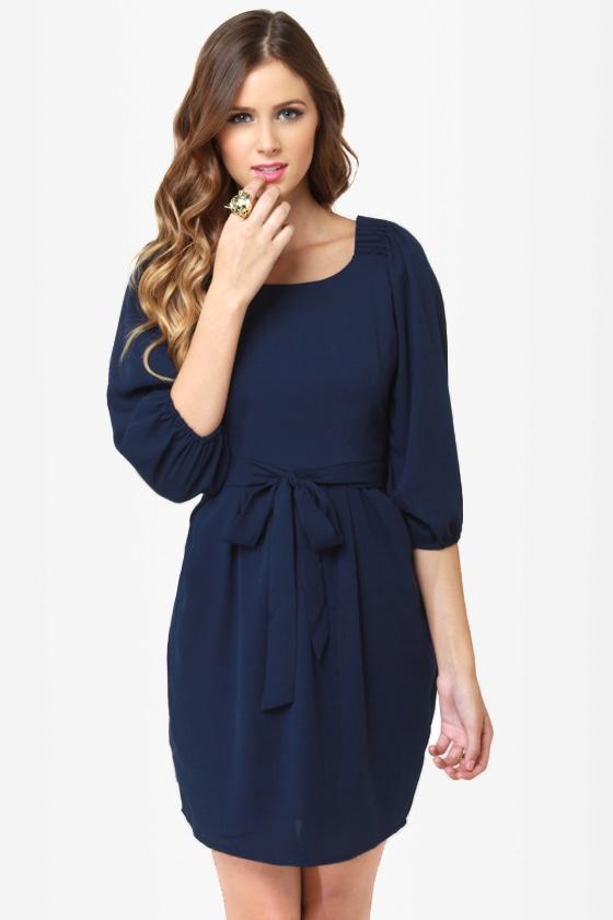 Cute Navy Blue Dress - Party Dress - $43.00