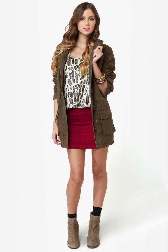 Cute Wine Red Skirt - Mini Skirt - Burgundy Skirt - $24.00