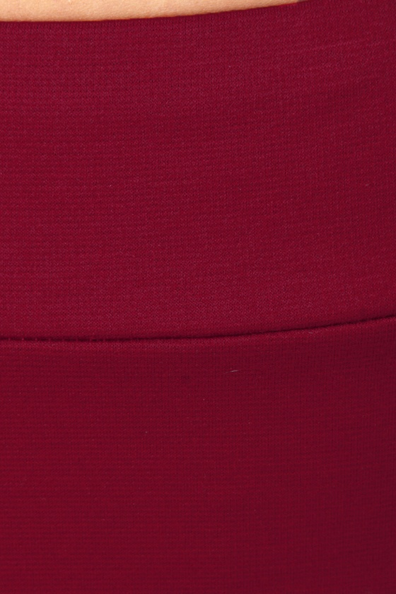 It\\\\\\\'s Electrifying Wine Red Mini Skirt