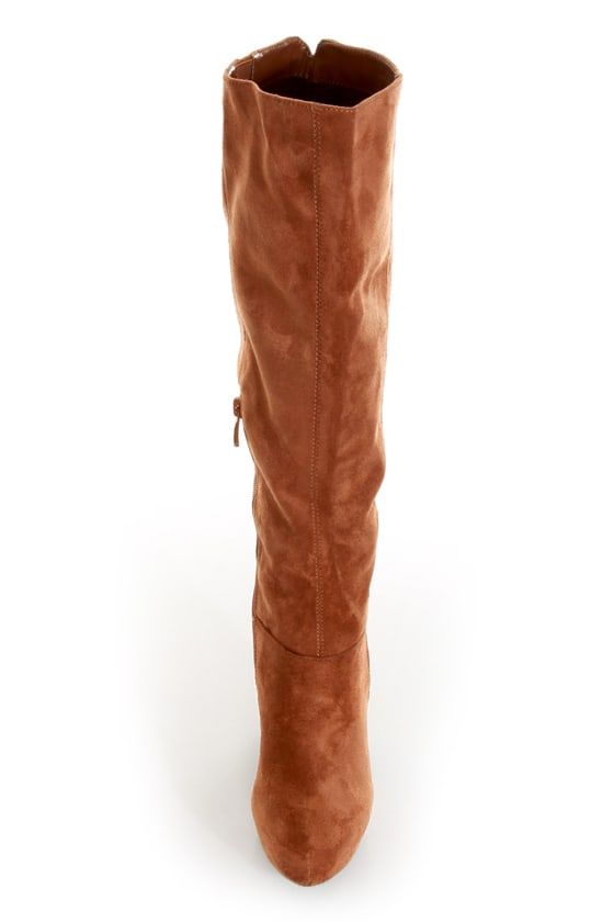 Ardiente Sole Freedom Tan Platform Knee High Boots