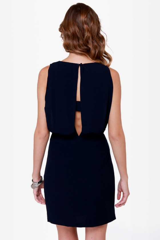 Diamond Dozen Navy Blue Beaded Dress