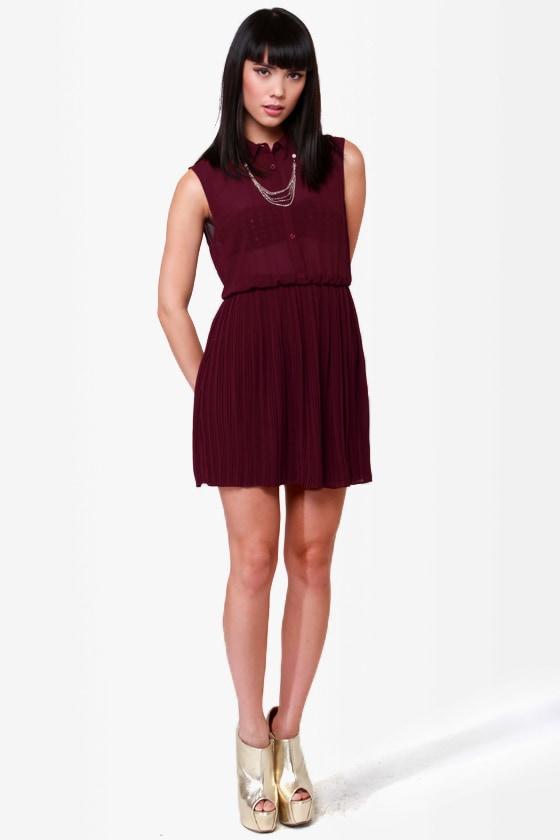 Chain Station Burgundy Dress