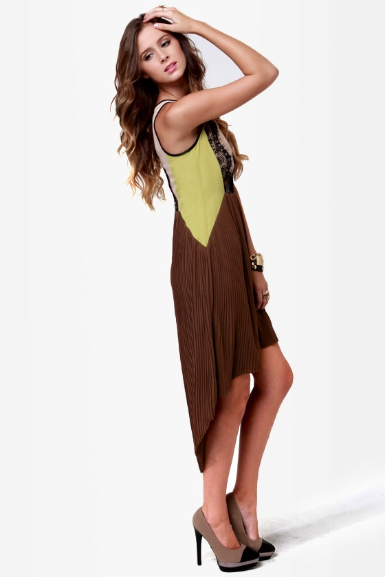 Charleston Charmer Brown Color Block Dress at Lulus.com!