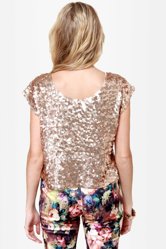 Flashbulb Gold Sequin Top