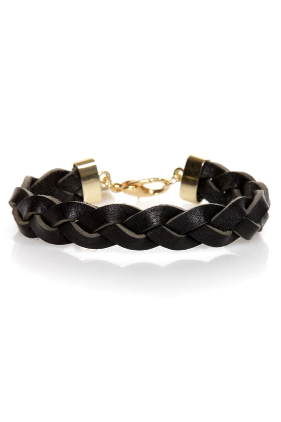 Rock and Wrist Braided Black Leather Bracelet