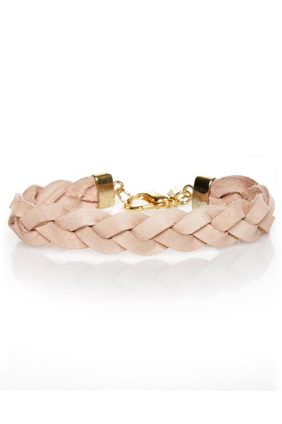 Rock and Wrist Braided Beige Leather Bracelet