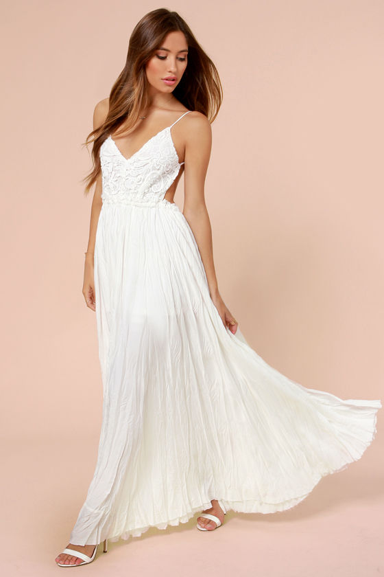 Pretty Ivory Dress Crocheted Dress Maxi Dress 10700