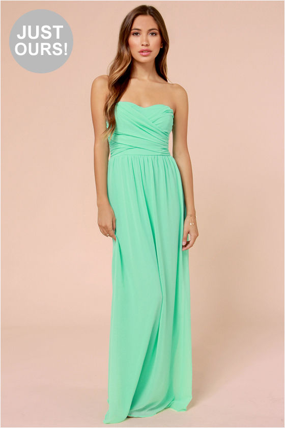 Lovely Mint Green Dress - Strapless Dress - Maxi Dress - $71.00