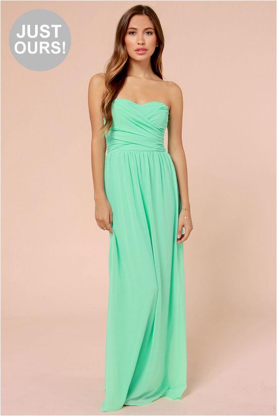 aade456ab819 Lovely Mint Green Dress - Strapless Dress - Maxi Dress -  71.00