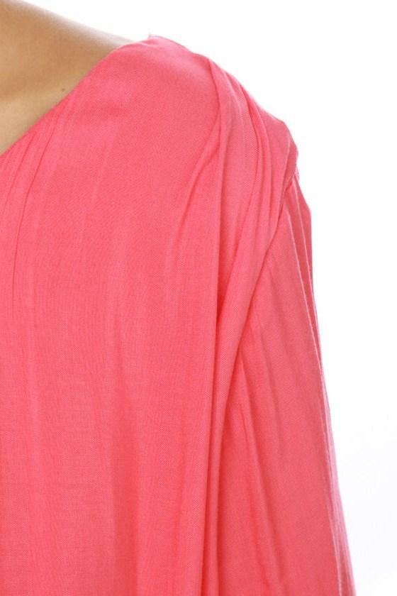 La La Love One Shoulder Coral Dress