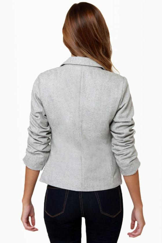 I\'m the New Intern Grey Tweed Blazer