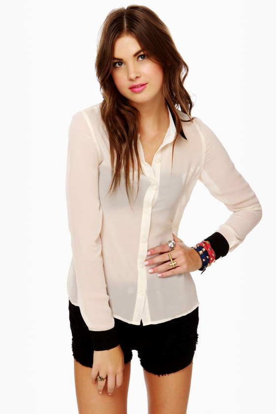 Olive & Oak Sonny and Sheer Black and Cream Top at Lulus.com!